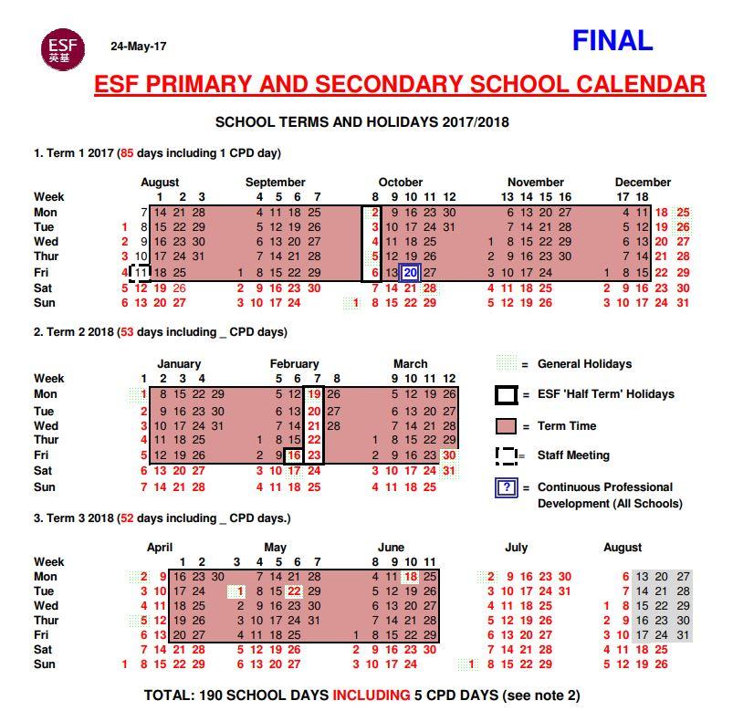 Year Calendar Hong Kong : English schools foundation international in