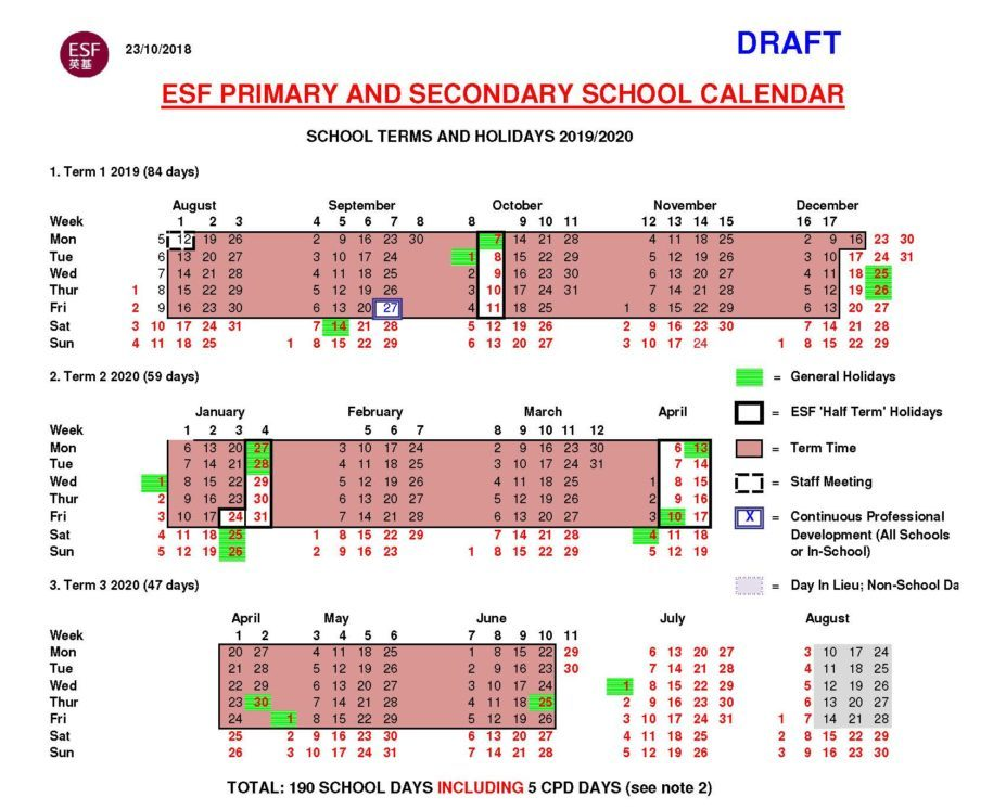 esf primary secondary school calendar 2019 20 draft