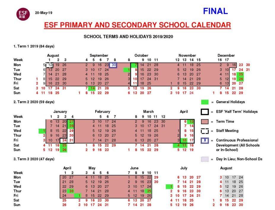 Calendario 2020 2020.English Schools Foundation 22 International Schools In Hk