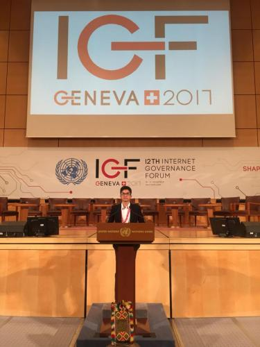 Rohan Daswani from ESF Island School speaking at the United Nations Internet Governance Forum.