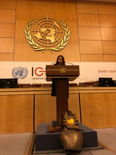 Shannon Hui from ESF South Island School speaking at the United Nations Internet Governance Forum.